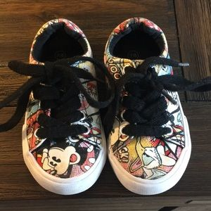 Size 7/8 toddler Disney character sneakers.
